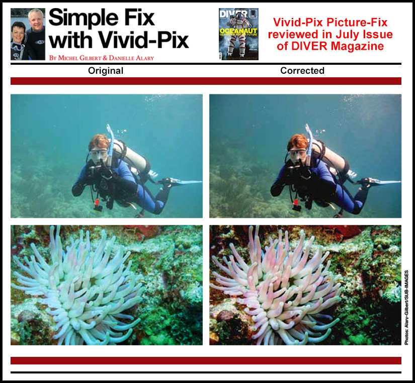 Vivid-Pix Picture-Fix reviewed in July Issue of DIVER Magazine - Repost